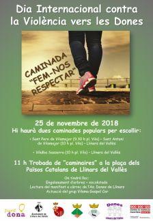 Cartell dia interancional contra la violència vers les Dones, es farà una caminada desde Vilaba Sasserra es sortirà a les 10 del matí desde la plaça de la Vila.