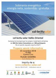 Cartell xerrada informativa sobre la instal·lació de panells solars, la xerrada es farà el dia 22 de novembre a les 19h